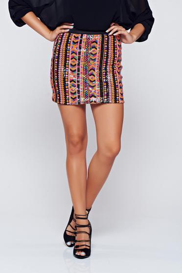 StarShinerS short black skirt with sequin embellished details