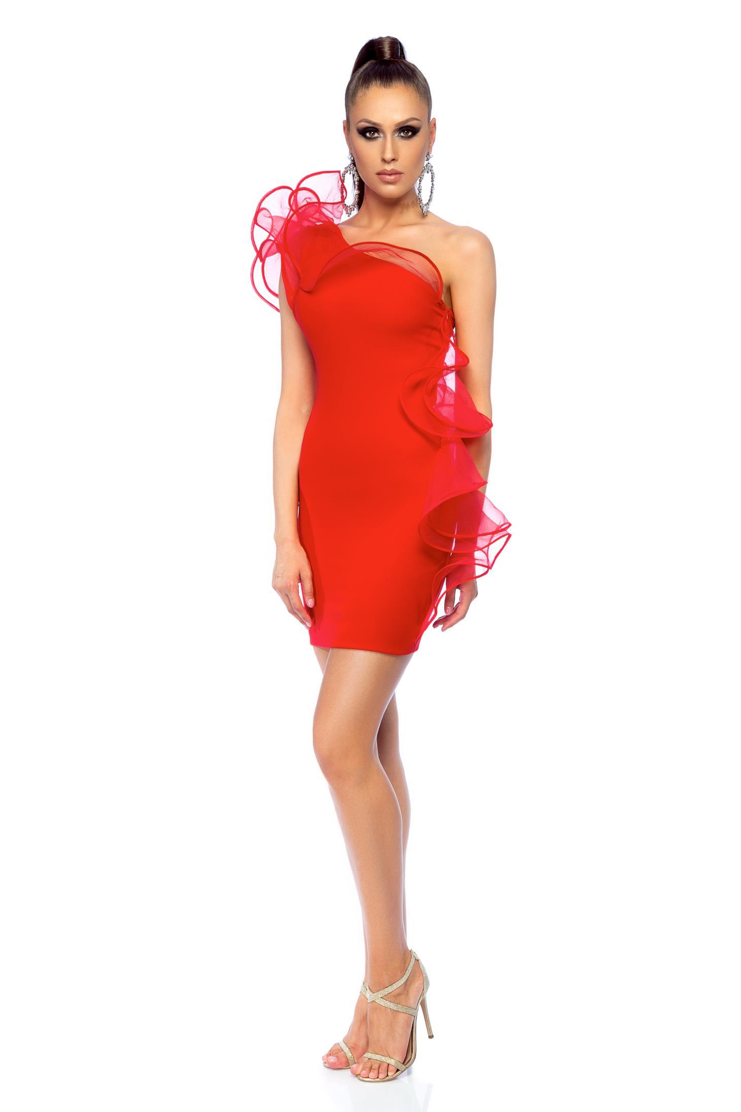 Piros Ana Radu alkalmi egy vállas fodros ruha af6675453a