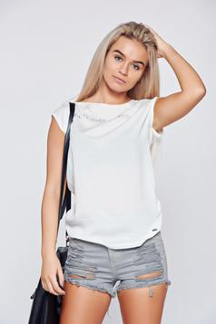 Top Secret white casual flared texted t-shirt