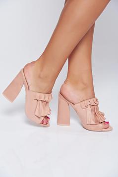 Pink velvet fabric square heel sandals