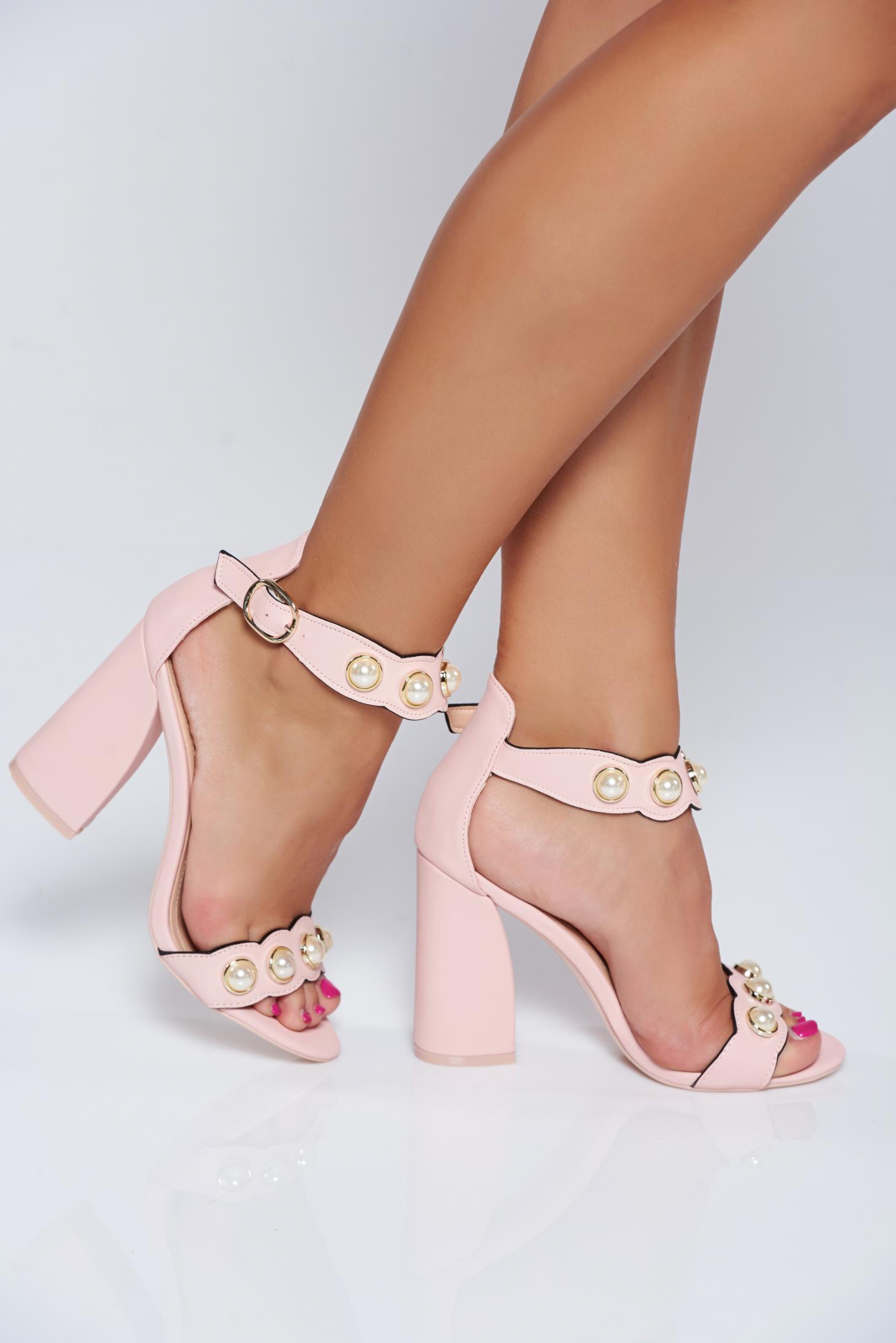 Perle Elegante Cu Patrat Sandale Aplicatii Roz Toc 2E9DHI