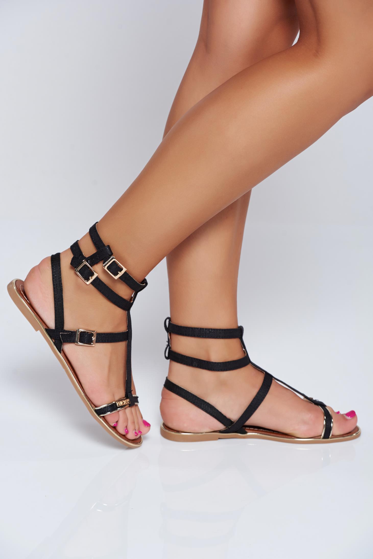 Sandale negre casual din piele ecologica cu talpa joasa si usoara