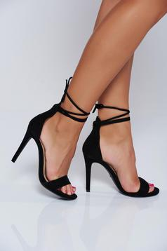 Black elegant sandals with ribbon fastening and thin straps