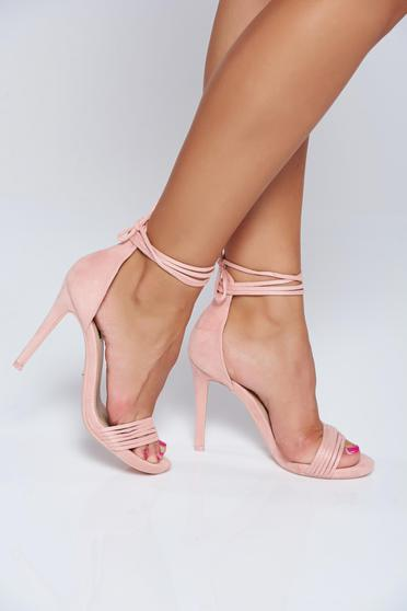 Pink elegant sandals with ribbon fastening and thin straps
