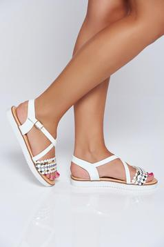 White casual low heel sandals with glitter details