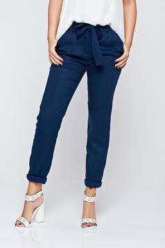 Top Secret darkblue office trousers with medium waist and pockets