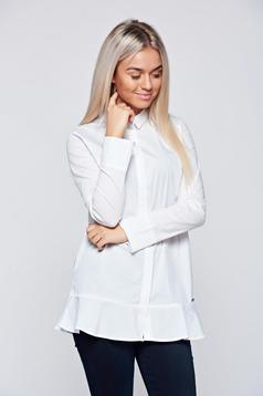 Top Secret white office women`s shirt with long and ruffle details