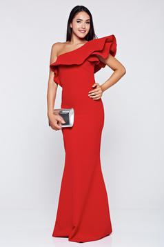 Ana Radu occasional mermaid one shoulder red dress with ruffle details