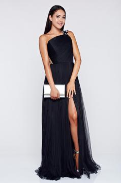 Ana Radu black cloche evening dress with tulle