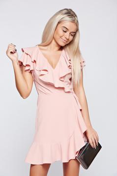 Ana Radu peach elegant wrap around dress with ruffle details