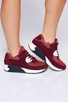 Top Secret burgundy casual sneakers with lace