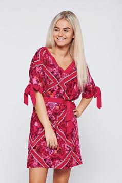Top Secret casual flared burgundy airy fabric dress