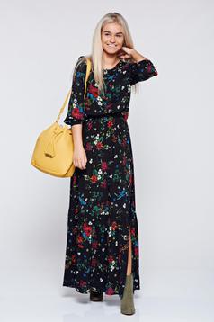 Top Secret casual flared black dress with elastic waist