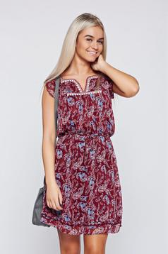 Top Secret burgundy casual voile fabric dress with elastic waist