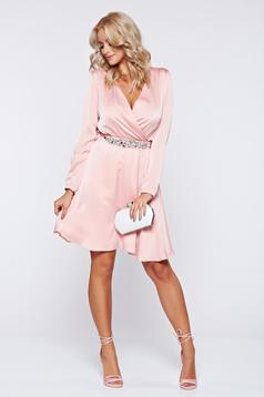 StarShinerS pink occasional dress with long sleeve and strass