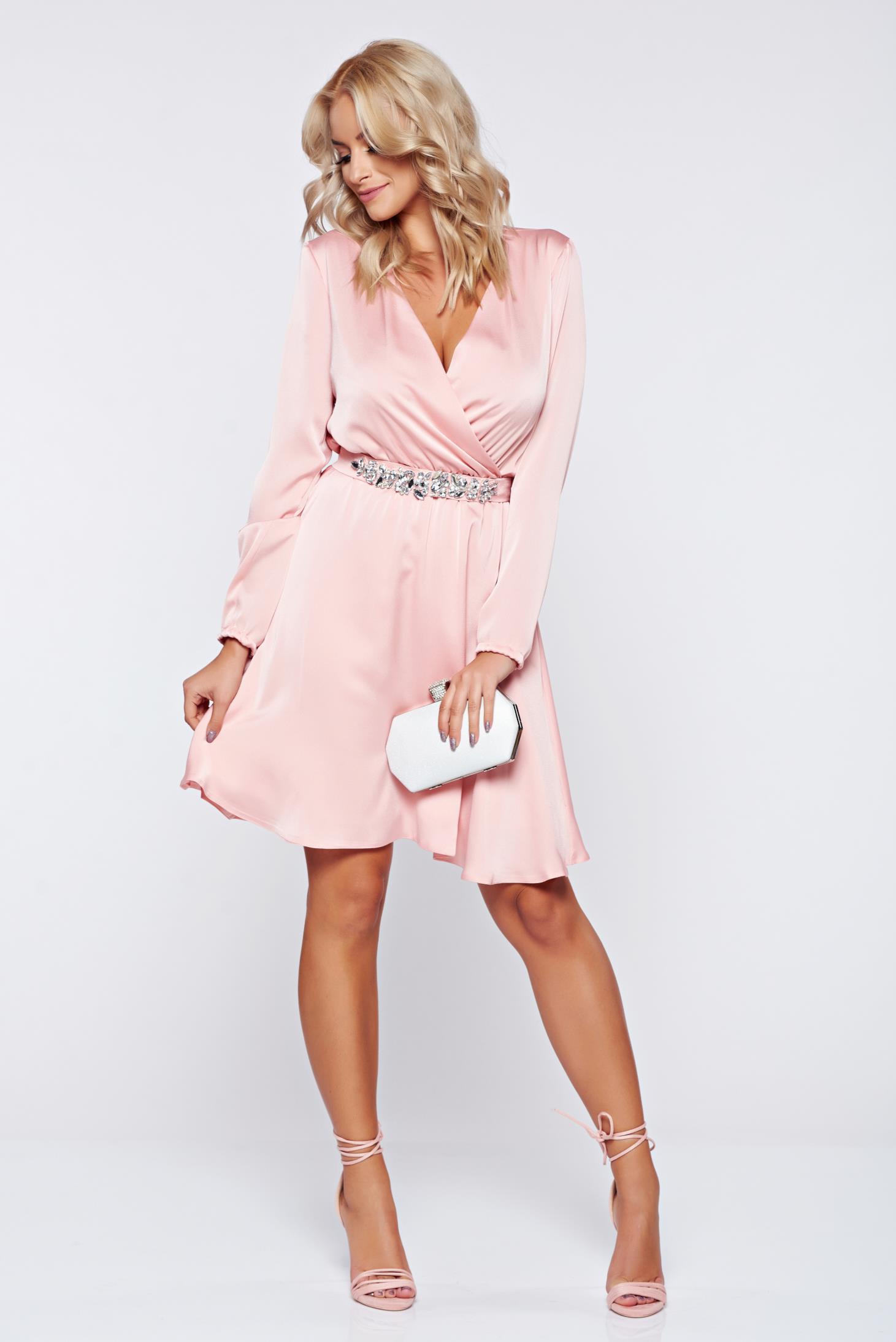 4b89ea4669 Pink StarShinerS hosszú ujjú alkalmi ruha strassz köves díszítéssel