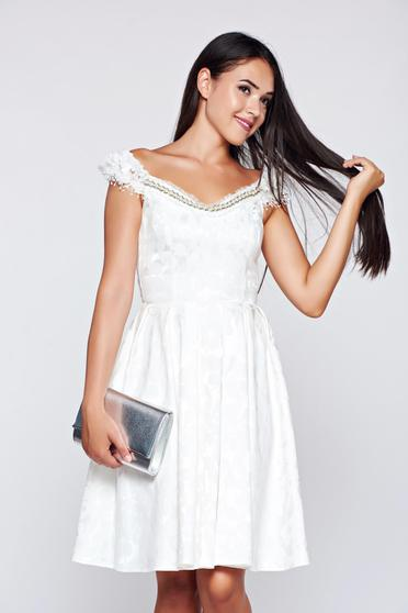 StarShinerS occasional white cloche off shoulder dress