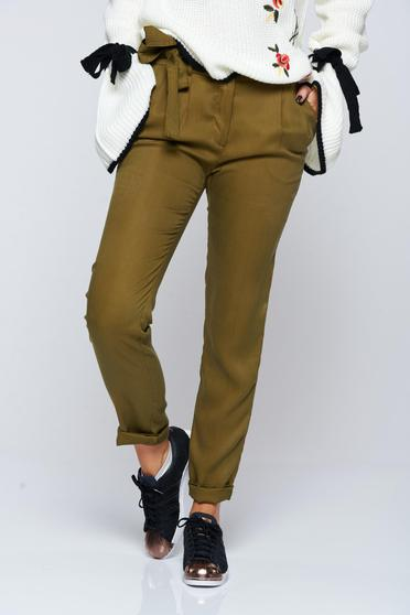 Top Secret green casual conical trousers with pockets