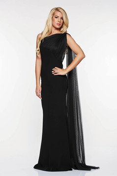 Ana Radu occasional black net dress on one shoulder