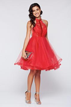 Occasional Ana Radu red cloche dress with lace details
