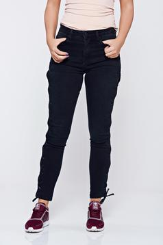 Black casual cotton jeans with laced details
