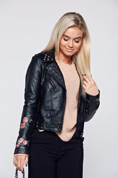 Embroidered black jacket with metallic spikes