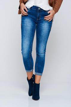 Blue casual cotton jeans with medium waist