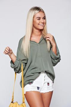 Elegant airy fabric easy cut darkgreen women`s blouse