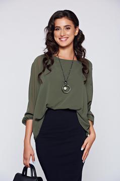 Darkgreen elegant flared women`s blouse lace details