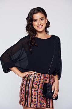 Black elegant flared women`s blouse with lace details