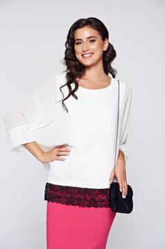 White elegant flared women`s blouse lace details