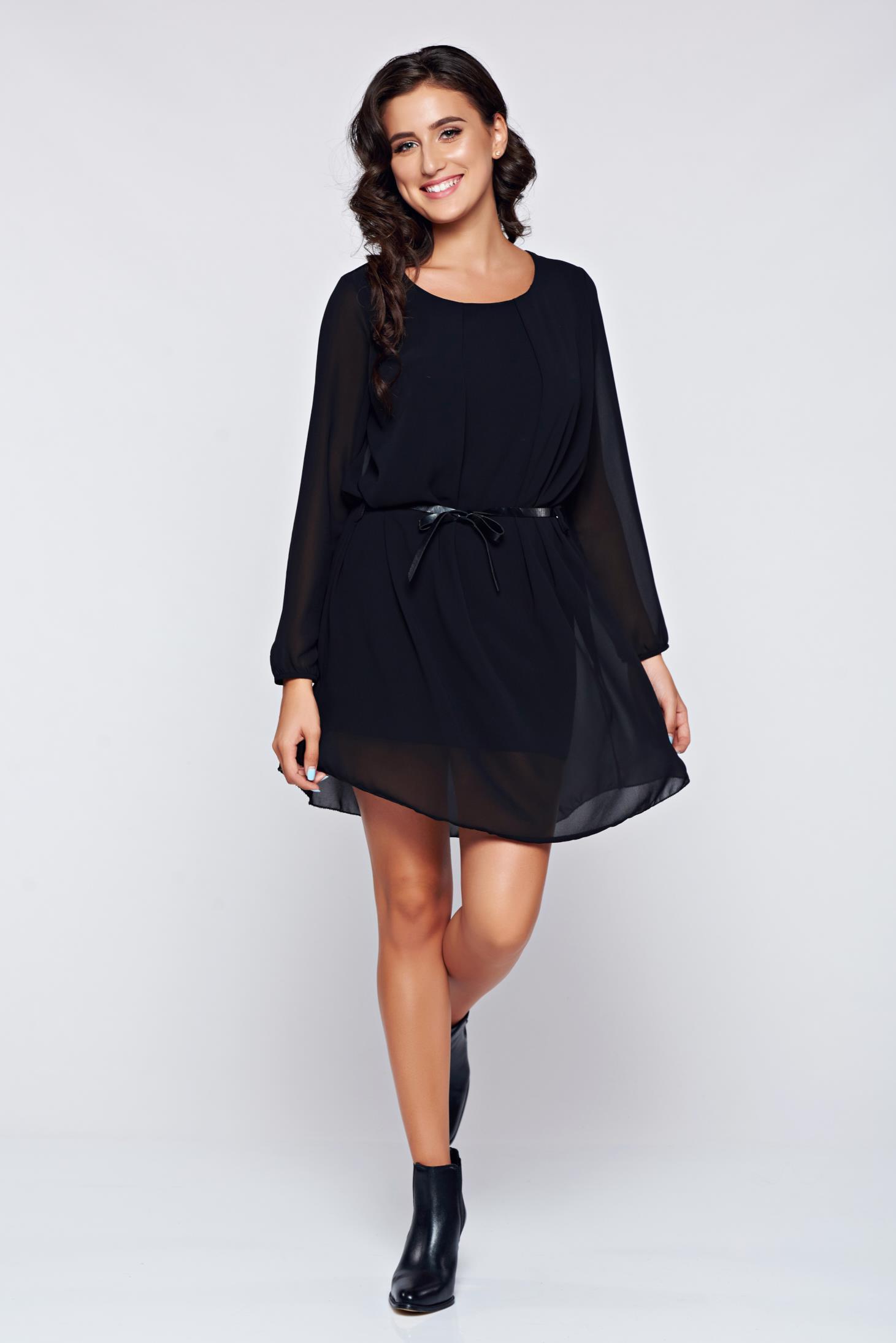 Fekete bő szabás hosszú ujjú ruha fátyol anyagból 2065e6d8cf