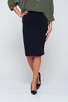 Office black pencil skirt with medium waist