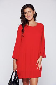 Red elegant easy cut dress airy fabric