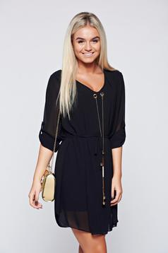 Black elegant easy cut dress with metalic accessory