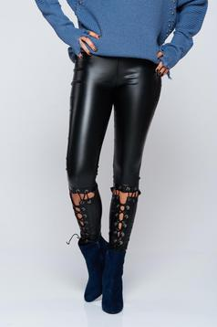 Casual laced details black tights