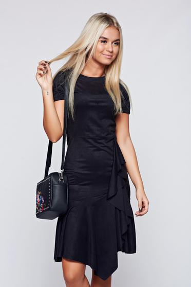 Black velour asymmetrical dress with ruffle details