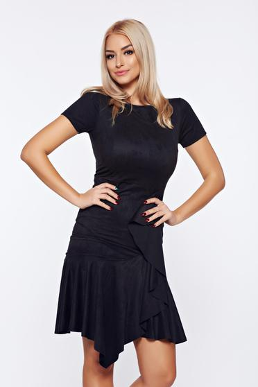 Black velour asymmetrical dress with ruffle details