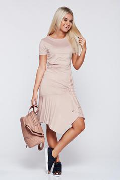 Rosa velour asymmetrical dress with ruffle details
