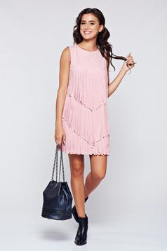 Rosa velour sleeveless dress has fringes
