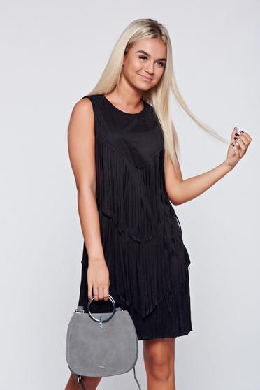 Black velour sleeveless dress has fringes