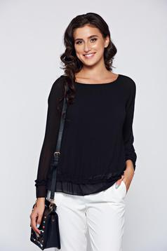 Black elegant inside lining women`s blouse from airy fabric