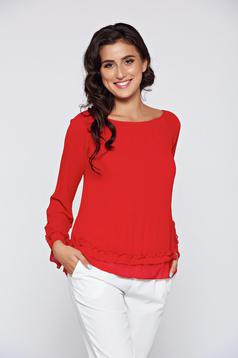 Red elegant inside lining women`s blouse airy fabric