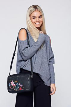 Grey casual knitted sweater both shoulders cut out