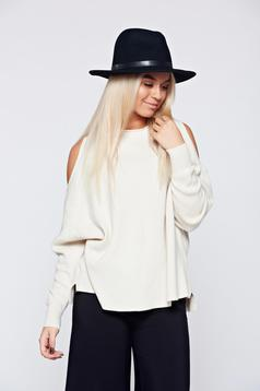 Cream casual knitted sweater with both shoulders cut out