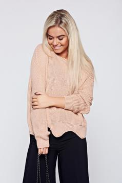 Rosa casual knitted sweater cut-out edge
