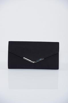 Black clutch bag with metalic accessory