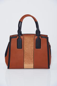 Brown office bag with zipper details pockets