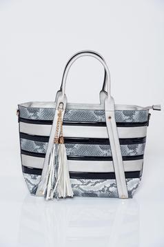 Grey animal print design bag with tassels