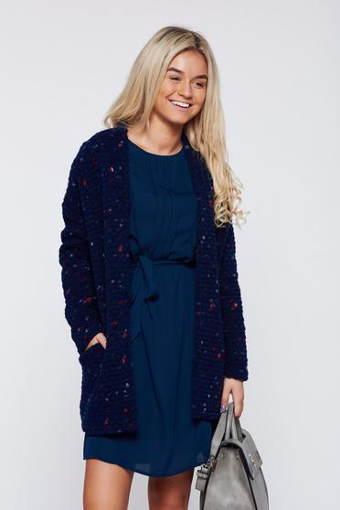 Top Secret darkblue knitted cardigan cardigan with pockets